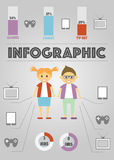 Infographics of different Gadgets on gray Stock Image