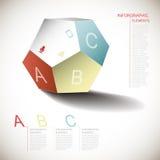 Infographics dimensionnel abstrait de pentagone de vecteur illustration libre de droits