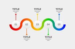 Infographics do círculo para um processo ou uma progressão de cinco etapas ilustração royalty free
