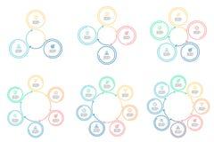 Infographics do esboço Diagramas circulares com 3 - 8 etapas Foto de Stock