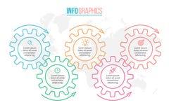 Infographics do esboço O espaço temporal com 5 etapas, engrenagens, rodas denteadas fotografia de stock