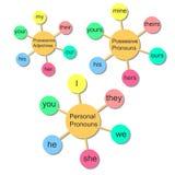 Infographics do vetor Pronomes ingleses Imagens de Stock