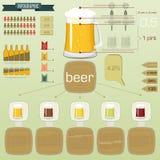 Infographics do vintage ajustado - ícones da cerveja Foto de Stock
