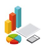 Infographics document calculator icon. Isometric design. Vector Stock Image