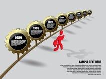 Infographics dorato degli ingranaggi Immagine Stock