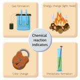 Infographics dos indicadores da reação química Imagens de Stock Royalty Free