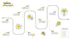 Infographics dos trabalhos do espaço temporal do negócio Marcos miliários incorporados GR Fotografia de Stock