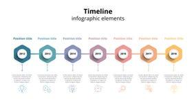 Infographics dos trabalhos do espaço temporal do negócio Marcos miliários incorporados GR Imagens de Stock