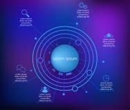Infographics dunkelblau Stockfoto