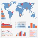 Infographics e iconos de las estadísticas Imágenes de archivo libres de regalías