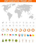 Infographics. Earth map and different charts Royalty Free Stock Photography