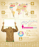 Infographics With Earth Map Royalty Free Stock Photos