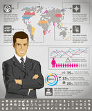 Infographics With Earth Map Royalty Free Stock Photo