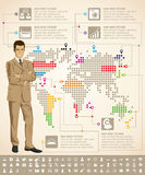 Infographics With Earth Map Royalty Free Stock Images