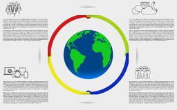 Infographics with earth. Planet earth infographic. Stock Photo