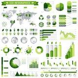 Infographics ecológico verde ajustou 5 Imagens de Stock Royalty Free
