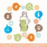 Infographics ed icone della donna incinta messi illustrazione di stock