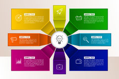 Infographics eight options with number, and Information text. Stock Images