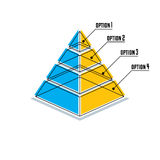 Infographics element, 3d layered pyramid, vector illustration. Creative and conceptual sign Royalty Free Stock Image