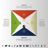 Infographics element Origamistil Öppna kuvertet med symboler Arkivbilder