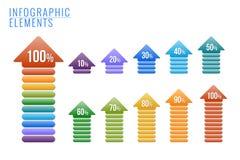 Infographics-Elemente, Prozente Fortschritt. stock abbildung