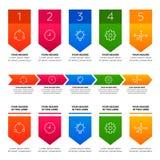 Infographics Elemente Prozess mit fünf Schritten Stockfoto