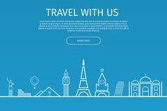 Infographics Elemente Reise und berühmte Marksteine Lizenzfreie Stockbilder