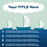 Infographics Elemente Schiff im Meer, 4 Schritte Stockbild