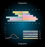 Infographics elements. Paper diagrams over dark background. Vector illustration. Eps 10 Stock Images