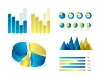 Infographics elements. In blue and yellow colors. Editable  illustration. Eps 10 Royalty Free Stock Image