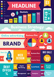 Infographics elements. Business strategy and creative process. Vector set of design elements and icons for web design royalty free illustration