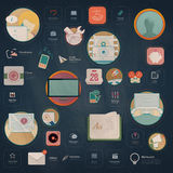 Infographics elements: Collection of colorful flat kit UI navigation elements with icons for personal portfolio website and mobile stock illustration