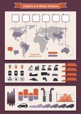 Infographics elements about industry and pollution Stock Photos