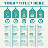 Infographics elements. 5 labels with icons and pie chart Royalty Free Stock Photos