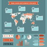 Infographics elements with map of the World Stock Photos