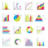 Infographics Elements in Modern Flat Business. Style. Graphics for Data Visualization. Bar Diagrams, Pie Charts Diagrams, Graphs showing growth. Icons Set Royalty Free Stock Photo
