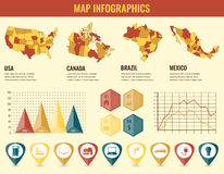 Infographics Elements set with collection Maps of America. USA, Canada, Brazil, Mexico infographics maps. Vector Royalty Free Stock Images