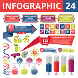 Infographics Elements 24. Set of elements for the development of creative infographics Stock Photo
