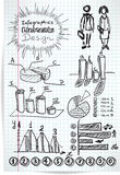 Infographics elements sketch on checkered sheet Royalty Free Stock Photography