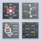 Infographics Elements Symbols and Icons World Map Timeline Vintage Retro Style Design Template on Stylish Abstract Gears Stock Image