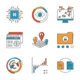 Infographics en analyse geplaatste lijnpictogrammen stock illustratie