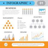 Infographics en estilo plano Procesos y plan de negocio Foto de archivo libre de regalías