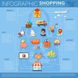 Infographics en línea de las compras Foto de archivo libre de regalías