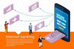 Infographics en línea móvil isométrico plano del web del concepto del pago 3d Foto de archivo libre de regalías