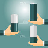 Infographics energy. Hands and battery. vector format Royalty Free Stock Images