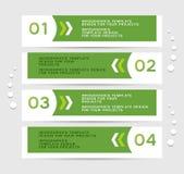 Infographics-Entwurf mit grünen Fahnen Stockfotografie