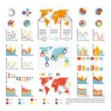 Infographics et analytics diagram et les diagrammes dirigent des icônes de calibre Illustration Stock