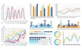 Infographics et diagrammes de tarte de courbes avec des segments illustration de vecteur