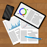 Infographics exchange statistics. Business information for forecast, chart statistic on table. Vector illustration Royalty Free Stock Photo