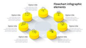 Infographics för affärsprocessdiagram med 7 momentsegment Isomet royaltyfri illustrationer